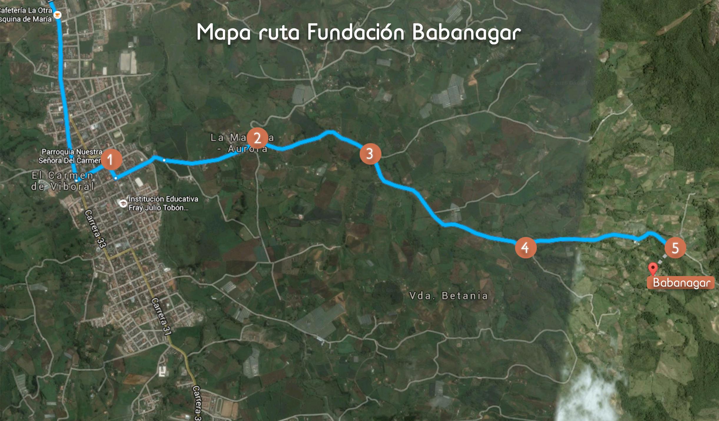 mapa ruta Fundacion Babanagar2